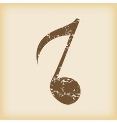 Grungy eighth note icon vector