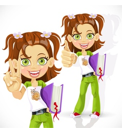 Schoolgirl with a textbook making victory sign vector