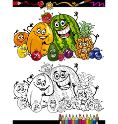 Cartoon fruits group for coloring book vector