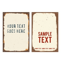 Blank rusty metal signs vector