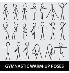 Gymnastic warm-up poses eps10 vector