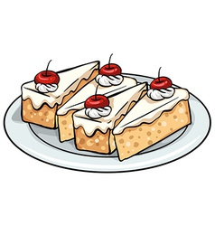 A plate with cakes vector