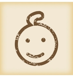 Grungy smiling child icon vector
