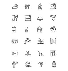 Hotel and restaurant doodle icons 2 vector