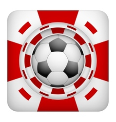 Square red casino chips of soccer sports betting vector