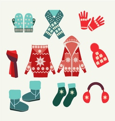 Set of winter clothing- vector