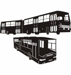 Urban buses silhouettes set vector