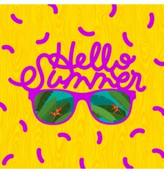Hello summer sunglasses with tropical island vector