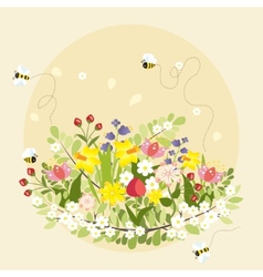 Spring flowers lovely beautiful bee cartoon vector