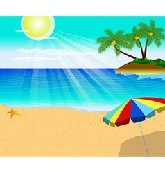 Tropical beach with palm trees and umbrella vector