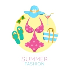 Lady beach accessories vector