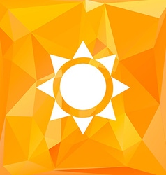 Sun icon with polygonal background vector