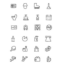 Hotel and restaurant doodle icons 3 vector