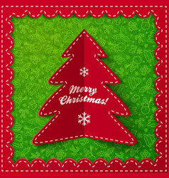 Red folded label christmas tree vector