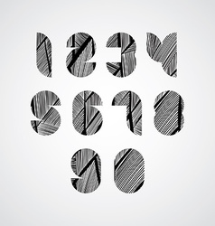 Modern digital shaped stylized numbers vector