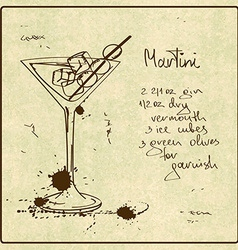 Hand drawn martini cocktail vector