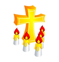 Icon cross and candle vector