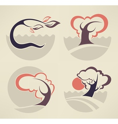 Lovely nature symbols vector