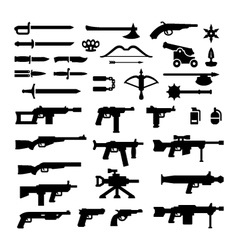 Set icons of weapons vector