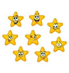 Yellow stars with emotional faces vector