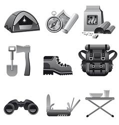 Tourism equipment icon gray vector