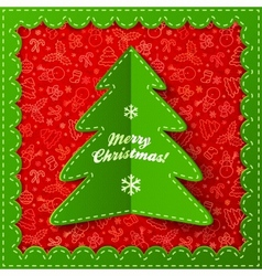 Green textile applique christmas tree vector