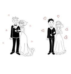 Doodle couple on wedding ceremony vector