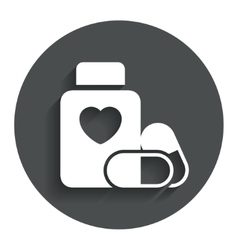 Medical heart pills bottle sign icon drugs vector