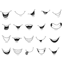 Set of smiling mouth vector
