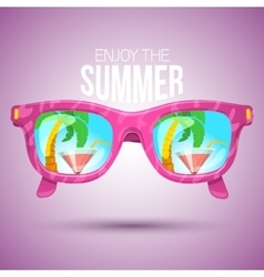 Tropical view in sunglasses vector