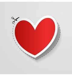 Cut heart shaped sticker vector