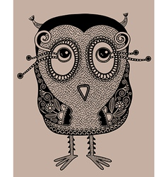 Original modern cute ornate doodle fantasy owl vector