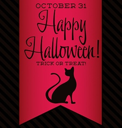 Black cat halloween sash card in format vector
