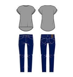 Womens jeans and shirt vector