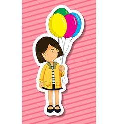 Girl and balloons vector