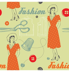 Fashion background with scissors buttons and woman vector