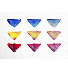 Watercolor triangle set hand drawn vector
