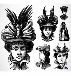 Women and hats vector