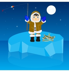 Fisherman on block of ice vector