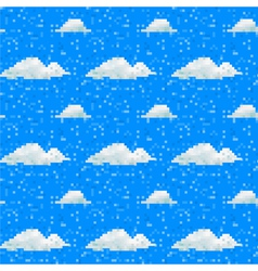 Seamless cloud pattern pixel art vector