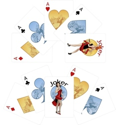 Four aces and caucasian joker playing cards noir vector