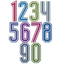 Retro stripe geometric numbers vector