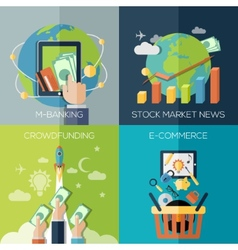 Flat design concepts for finance economy vector
