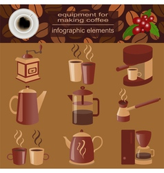 Equipment for making coffee set infographics vector