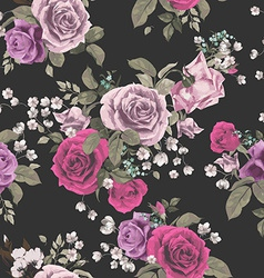 Seamless floral pattern with red and pink roses on vector