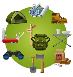 Tourism equipment icon vector