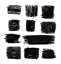 Hand drawn black squares and rectangles vector