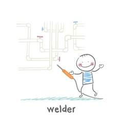 Welder near pipes with welding machine vector