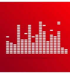 White digital equalizer background on red vector