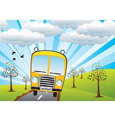 School bus and sunrise vector